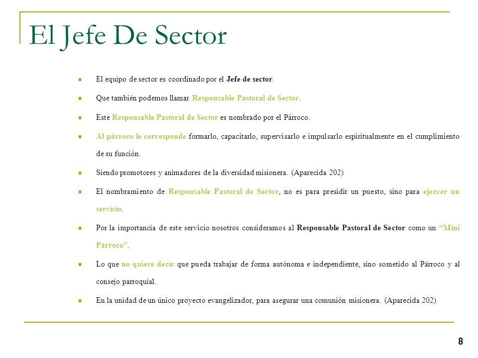 El Jefe De Sector El equipo de sector es coordinado por el Jefe de sector. Que también podemos llamar Responsable Pastoral de Sector.