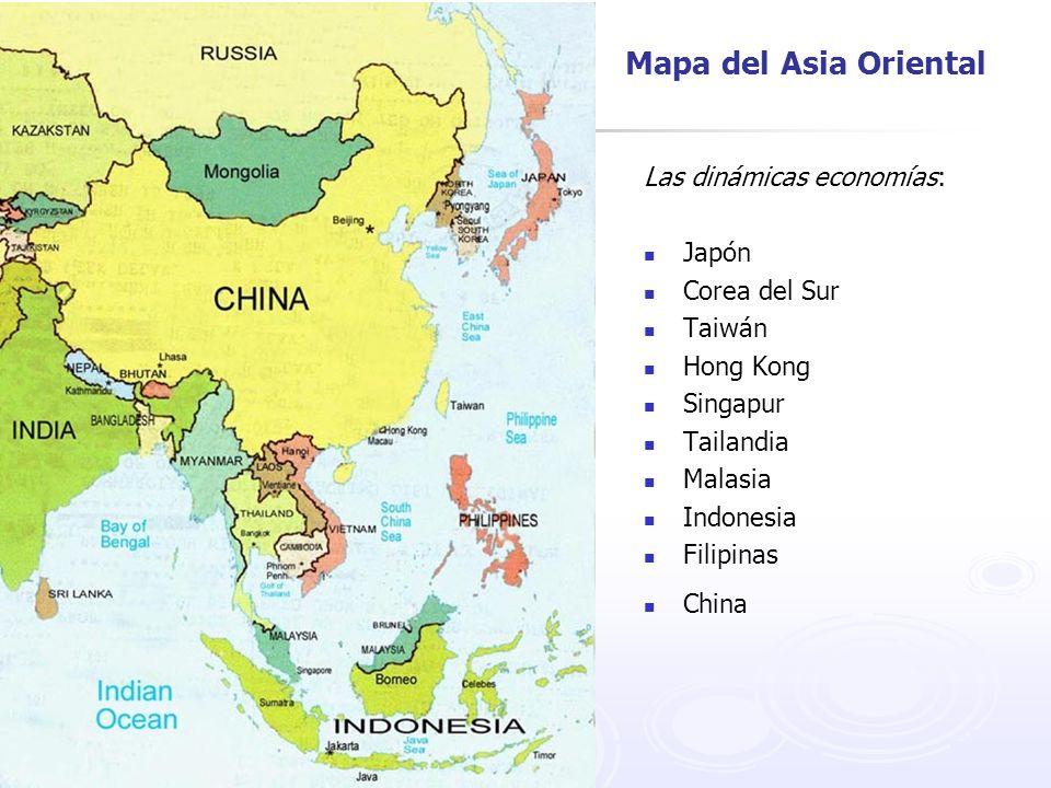 Mapa del Asia Oriental Las dinámicas economías: Japón Corea del Sur