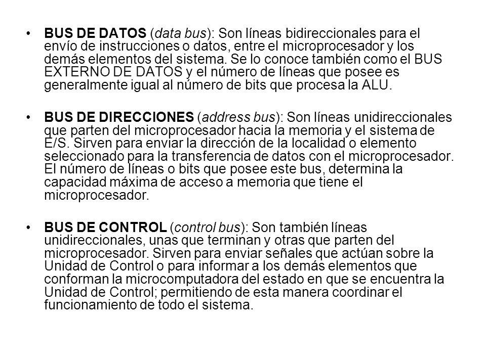 BUS DE DATOS (data bus): Son líneas bidireccionales para el envío de instrucciones o datos, entre el microprocesador y los demás elementos del sistema. Se lo conoce también como el BUS EXTERNO DE DATOS y el número de líneas que posee es generalmente igual al número de bits que procesa la ALU.