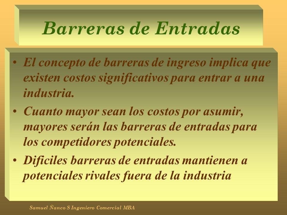 Barreras de Entradas El concepto de barreras de ingreso implica que existen costos significativos para entrar a una industria.