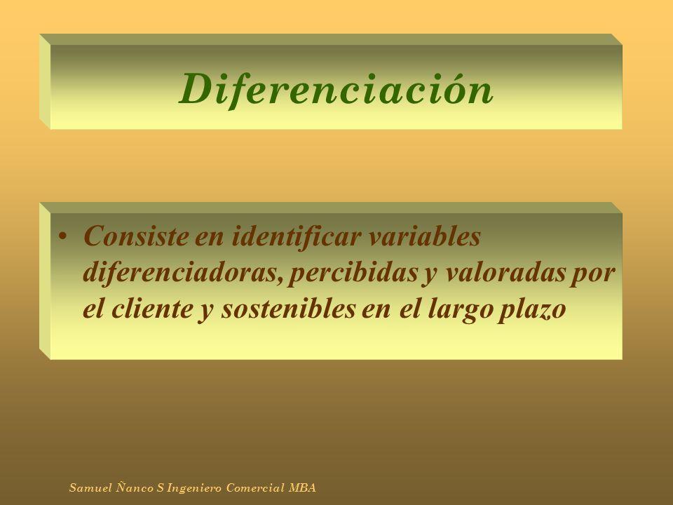 Diferenciación Consiste en identificar variables diferenciadoras, percibidas y valoradas por el cliente y sostenibles en el largo plazo.