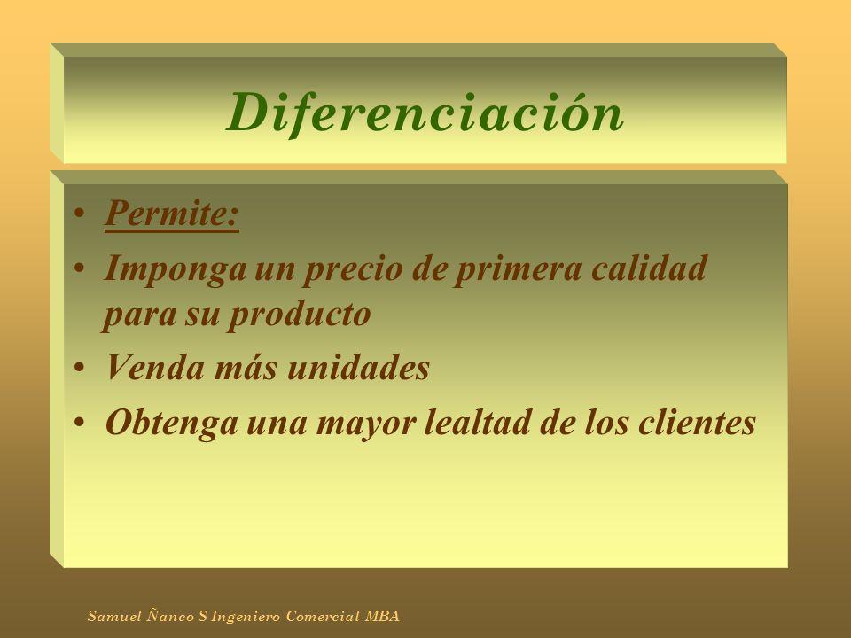 Diferenciación Permite: