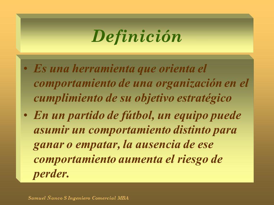 DefiniciónEs una herramienta que orienta el comportamiento de una organización en el cumplimiento de su objetivo estratégico.