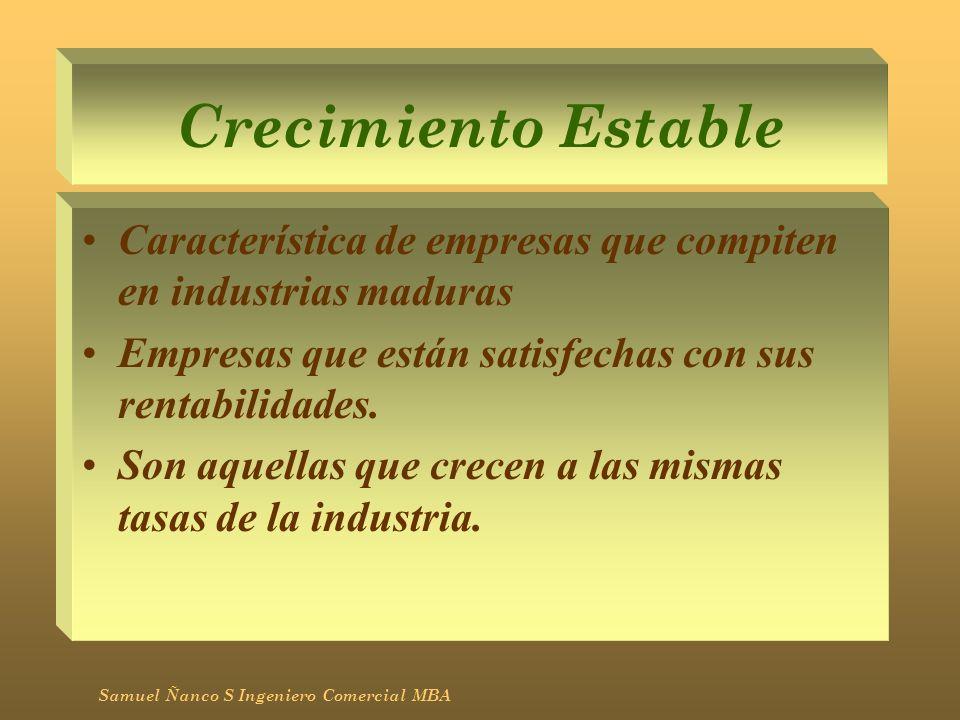 Crecimiento Estable Característica de empresas que compiten en industrias maduras. Empresas que están satisfechas con sus rentabilidades.