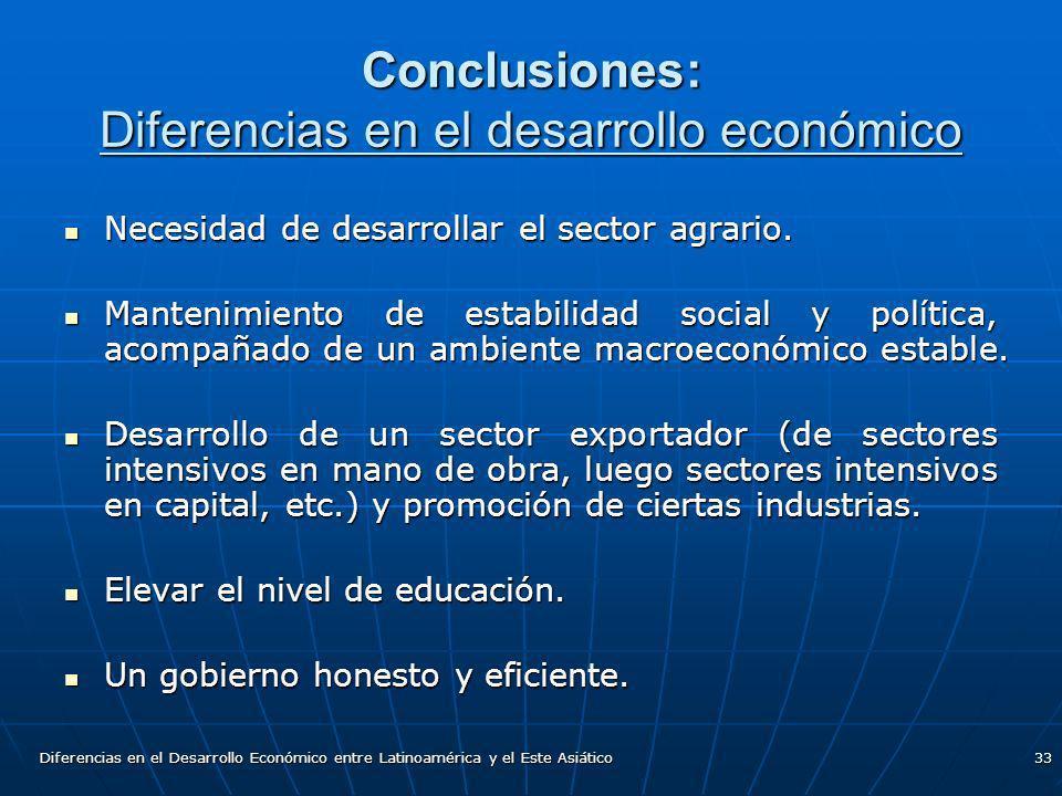 Conclusiones: Diferencias en el desarrollo económico