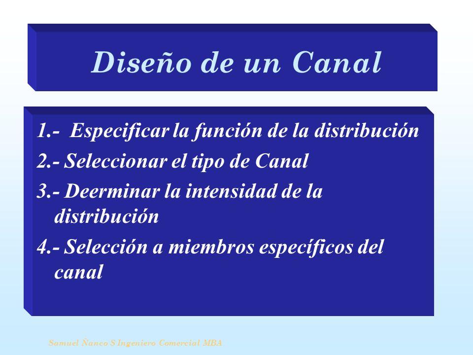 Diseño de un Canal 1.- Especificar la función de la distribución