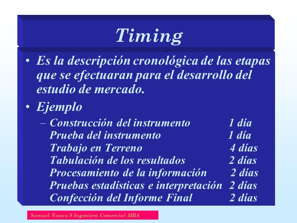 Timing Es la descripción cronológica de las etapas que se efectuaran para el desarrollo del estudio de mercado.
