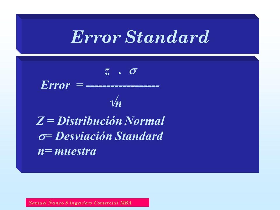 Error Standard z .  Error = ------------------ n