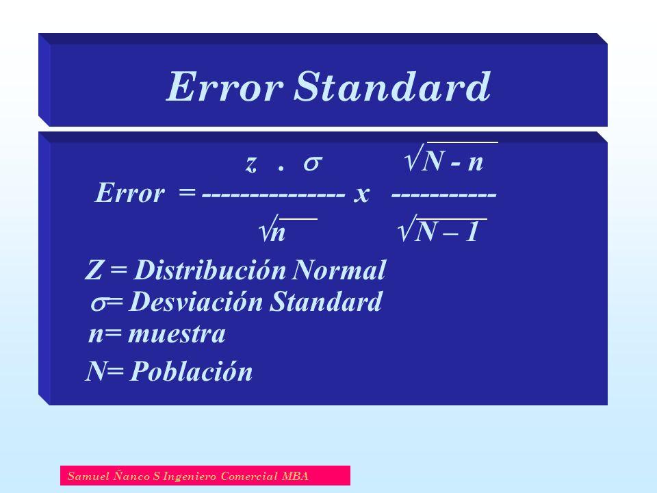 Error Standard z .   N - n Error = --------------- x -----------