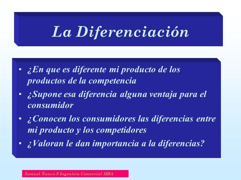 La Diferenciación ¿En que es diferente mi producto de los productos de la competencia. ¿Supone esa diferencia alguna ventaja para el consumidor.
