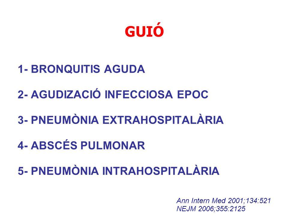 GUIÓ 1- BRONQUITIS AGUDA 2- AGUDIZACIÓ INFECCIOSA EPOC