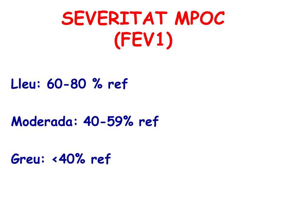 SEVERITAT MPOC (FEV1) Lleu: 60-80 % ref Moderada: 40-59% ref