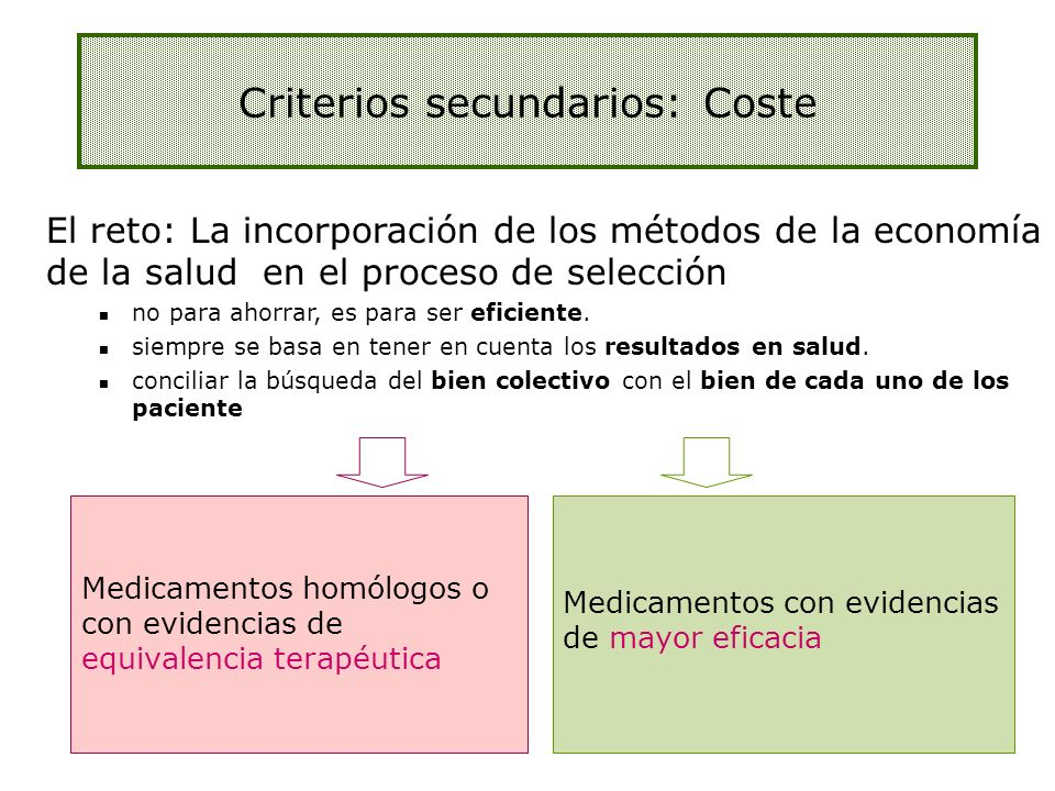 Criterios secundarios: Coste
