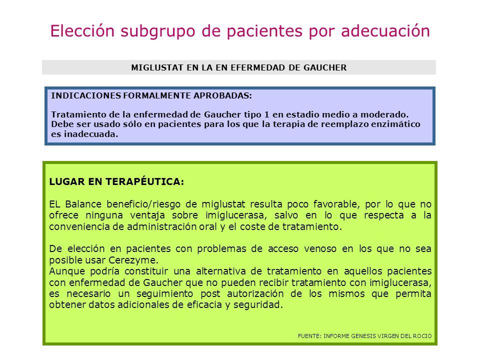 Elección subgrupo de pacientes por adecuación