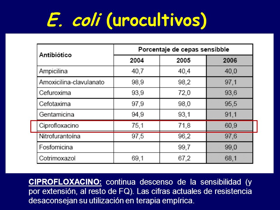 E. coli (urocultivos)