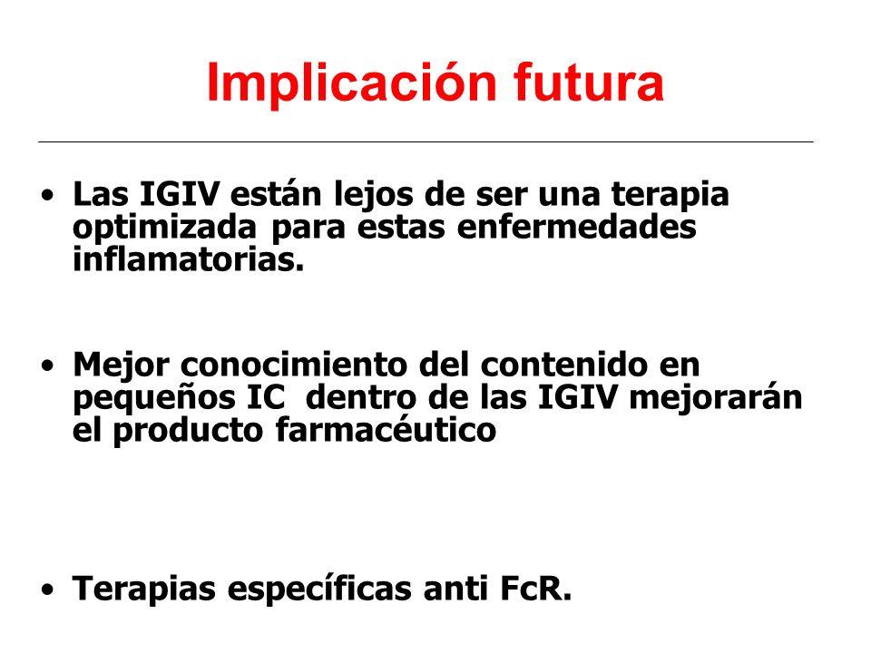 Implicación futura Las IGIV están lejos de ser una terapia optimizada para estas enfermedades inflamatorias.