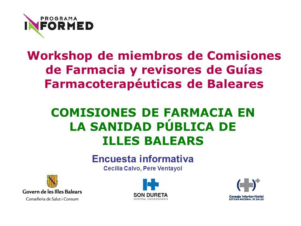 COMISIONES DE FARMACIA EN LA SANIDAD PÚBLICA DE ILLES BALEARS