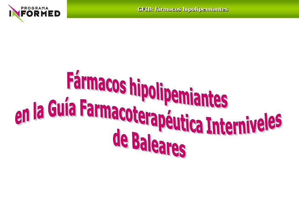 Fármacos hipolipemiantes en la Guía Farmacoterapéutica Interniveles