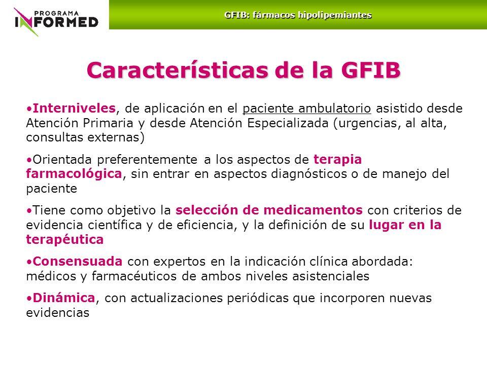 GFIB: fármacos hipolipemiantes Características de la GFIB