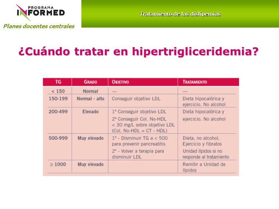 Tratamiento de las dislipemias ¿Cuándo tratar en hipertrigliceridemia