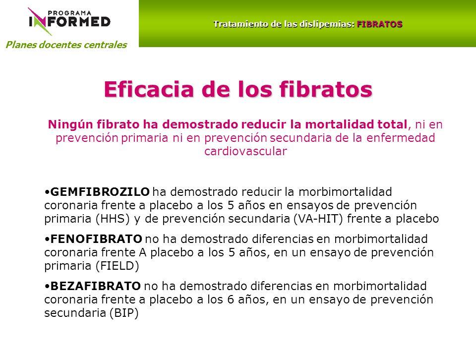 Tratamiento de las dislipemias: FIBRATOS Eficacia de los fibratos
