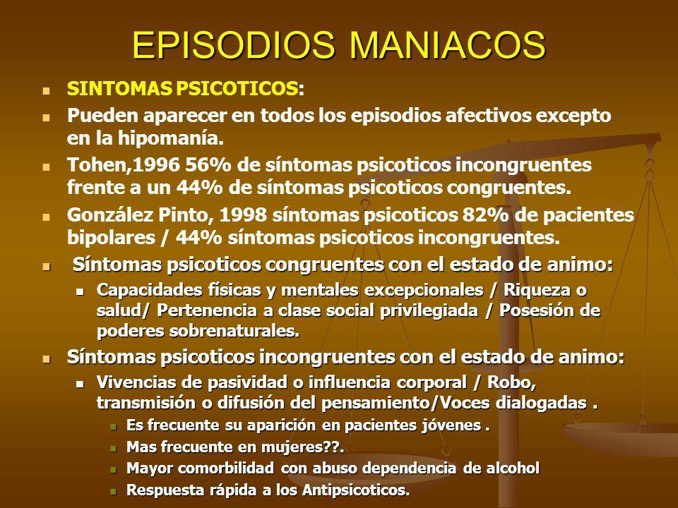 EPISODIOS MANIACOS SINTOMAS PSICOTICOS: