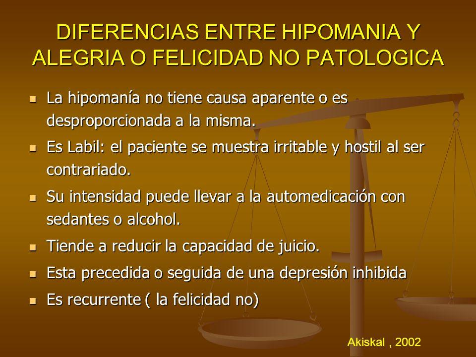 DIFERENCIAS ENTRE HIPOMANIA Y ALEGRIA O FELICIDAD NO PATOLOGICA