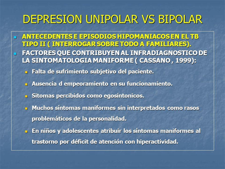 DEPRESION UNIPOLAR VS BIPOLAR
