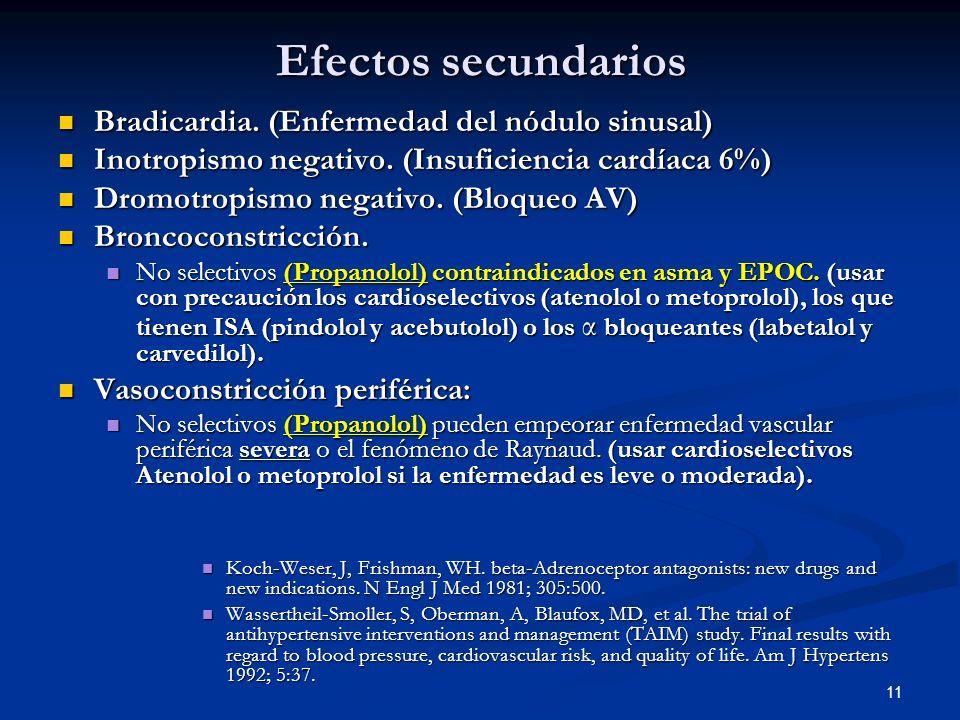 Efectos secundarios Bradicardia. (Enfermedad del nódulo sinusal)