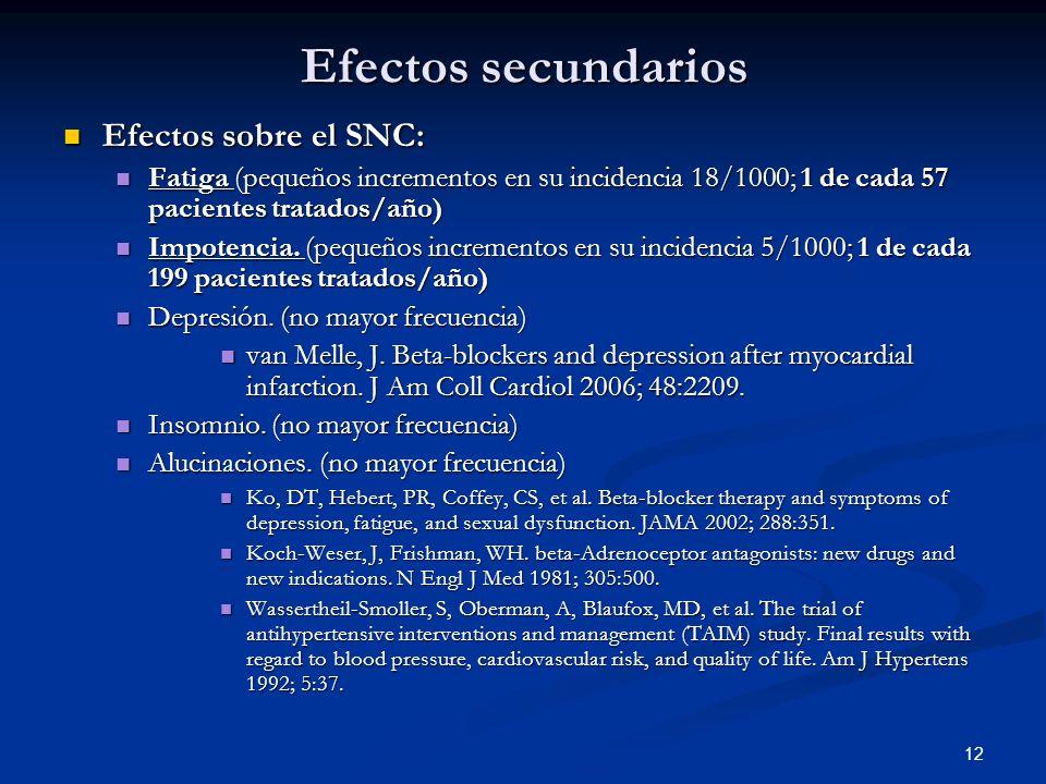 Efectos secundarios Efectos sobre el SNC: