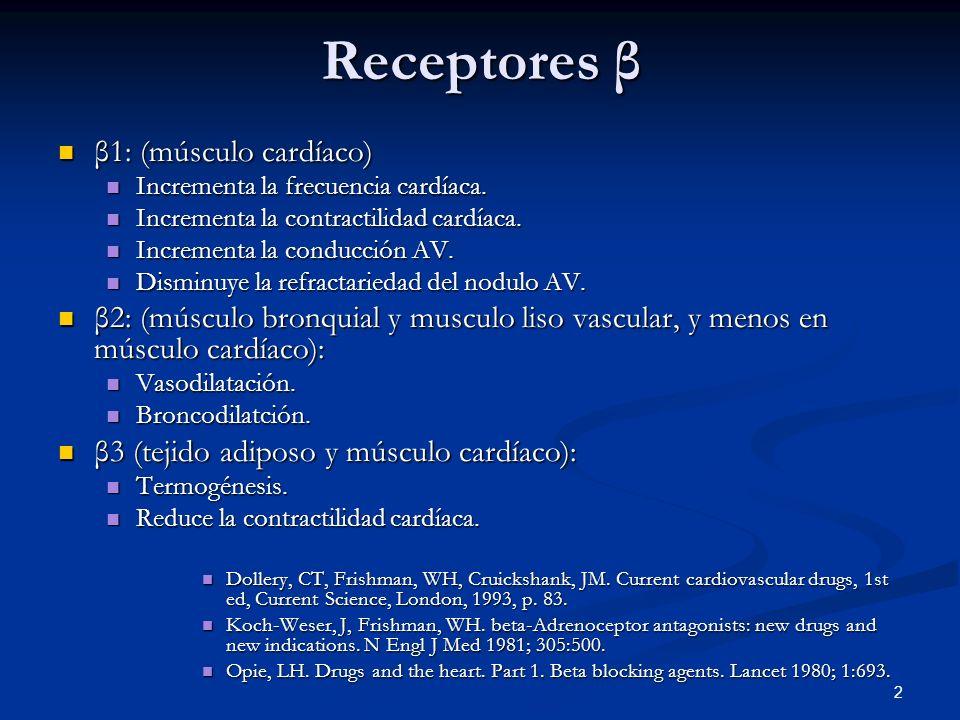 Receptores β β1: (músculo cardíaco)