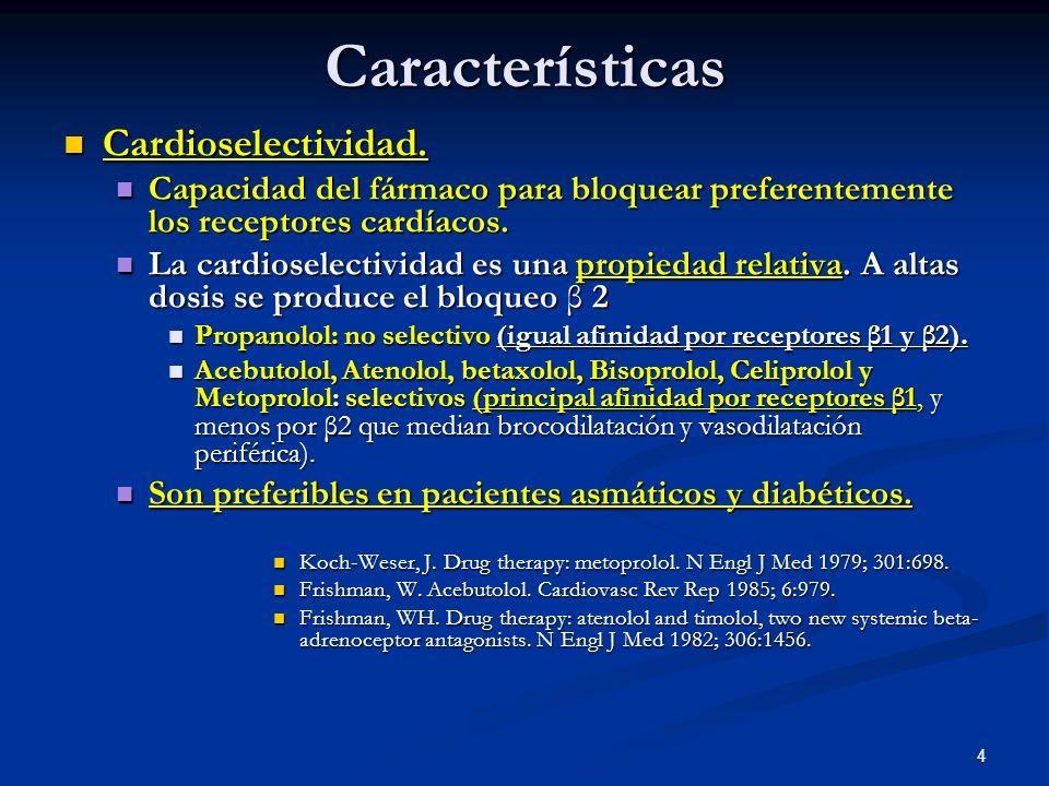 Características Cardioselectividad.