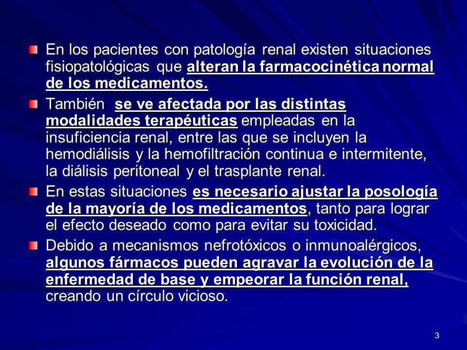En los pacientes con patología renal existen situaciones fisiopatológicas que alteran la farmacocinética normal de los medicamentos.