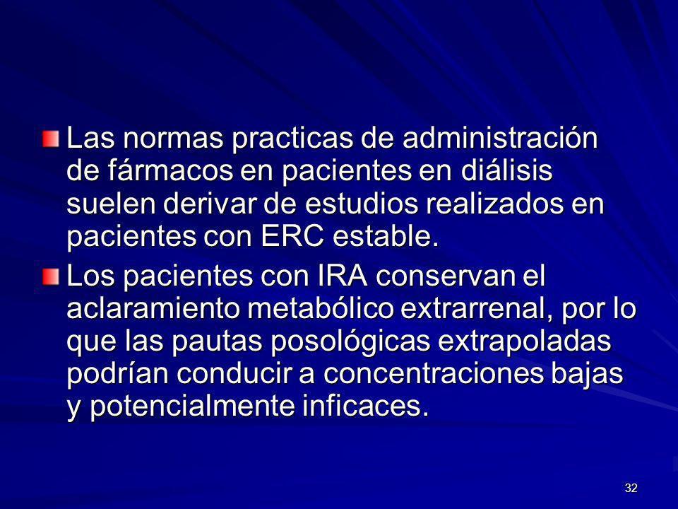 Las normas practicas de administración de fármacos en pacientes en diálisis suelen derivar de estudios realizados en pacientes con ERC estable.