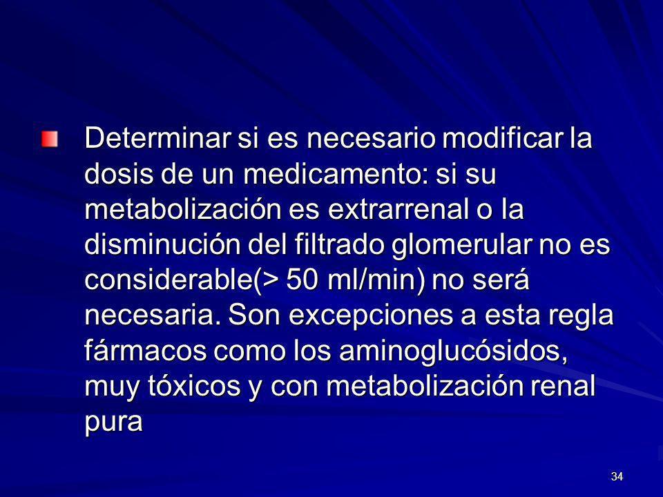 Determinar si es necesario modificar la dosis de un medicamento: si su metabolización es extrarrenal o la disminución del filtrado glomerular no es considerable(> 50 ml/min) no será necesaria.