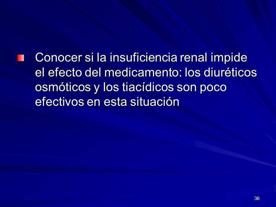 Conocer si la insuficiencia renal impide el efecto del medicamento: los diuréticos osmóticos y los tiacídicos son poco efectivos en esta situación