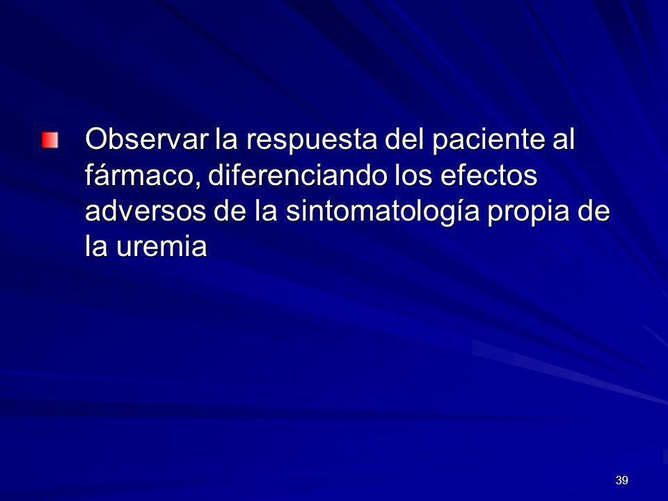 Observar la respuesta del paciente al fármaco, diferenciando los efectos adversos de la sintomatología propia de la uremia