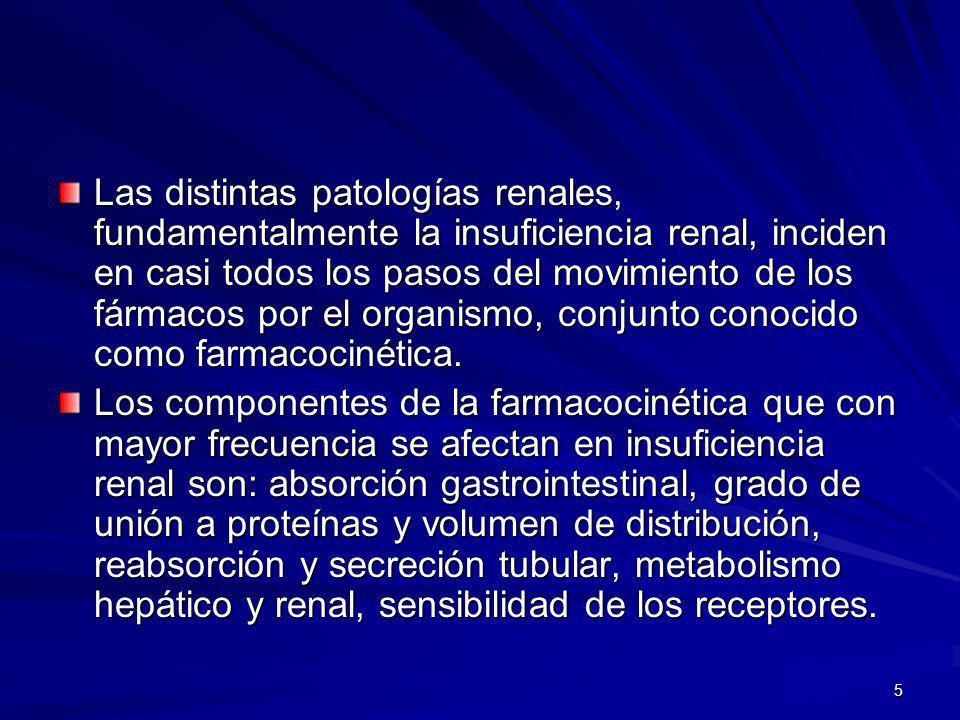Las distintas patologías renales, fundamentalmente la insuficiencia renal, inciden en casi todos los pasos del movimiento de los fármacos por el organismo, conjunto conocido como farmacocinética.