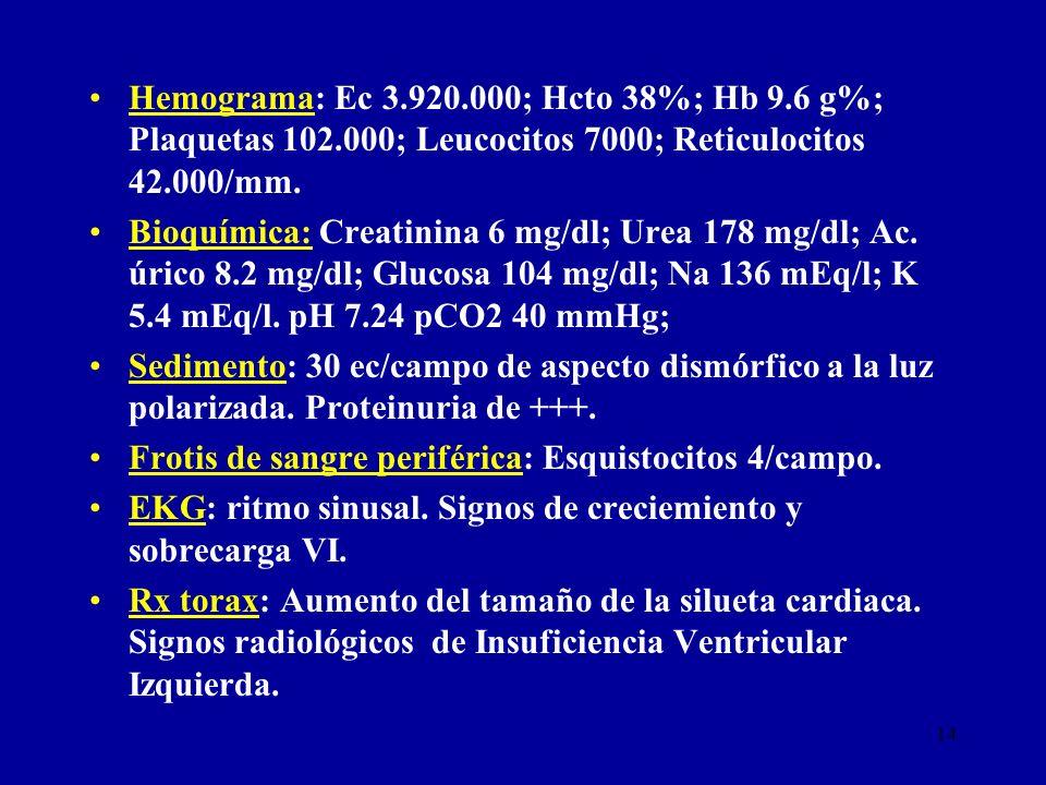 Hemograma: Ec 3. 920. 000; Hcto 38%; Hb 9. 6 g%; Plaquetas 102