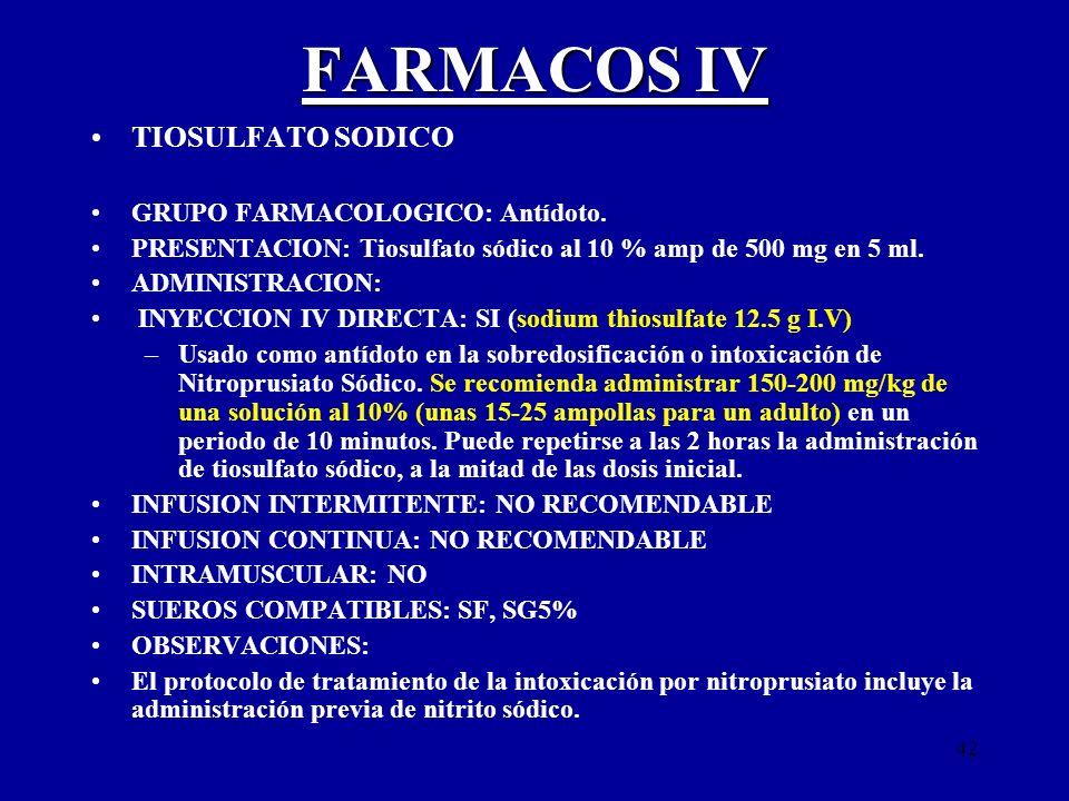FARMACOS IV TIOSULFATO SODICO GRUPO FARMACOLOGICO: Antídoto.