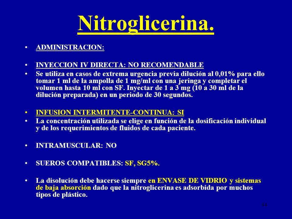 Nitroglicerina. ADMINISTRACION: INYECCION IV DIRECTA: NO RECOMENDABLE
