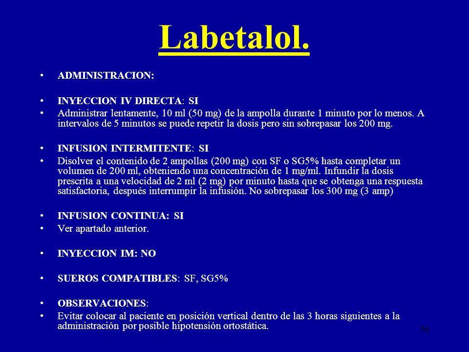 Labetalol. ADMINISTRACION: INYECCION IV DIRECTA: SI