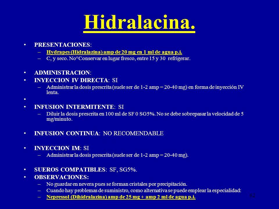 Hidralacina. PRESENTACIONES: ADMINISTRACION: INYECCION IV DIRECTA: SI