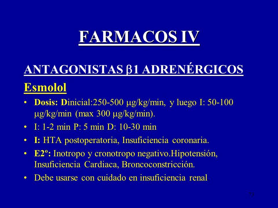 FARMACOS IV ANTAGONISTAS 1 ADRENÉRGICOS Esmolol