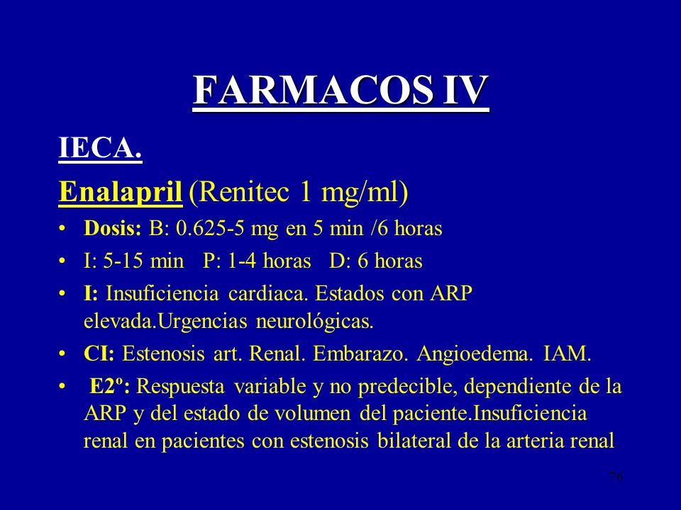 FARMACOS IV IECA. Enalapril (Renitec 1 mg/ml)