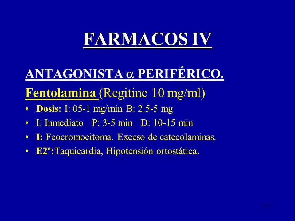 FARMACOS IV ANTAGONISTA  PERIFÉRICO. Fentolamina (Regitine 10 mg/ml)