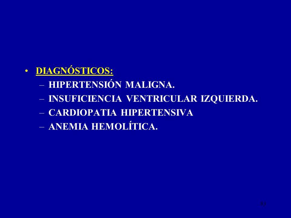 DIAGNÓSTICOS: HIPERTENSIÓN MALIGNA. INSUFICIENCIA VENTRICULAR IZQUIERDA. CARDIOPATIA HIPERTENSIVA.