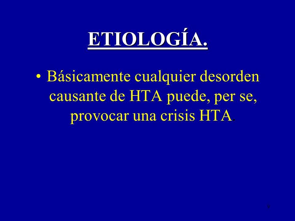 ETIOLOGÍA. Básicamente cualquier desorden causante de HTA puede, per se, provocar una crisis HTA.