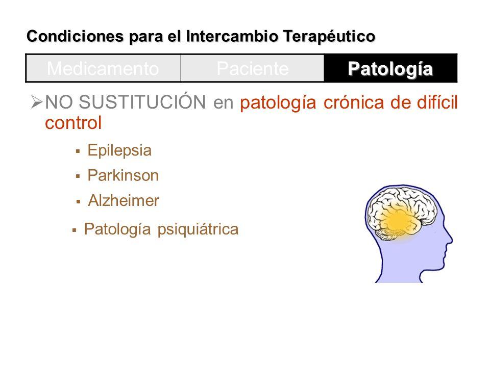 NO SUSTITUCIÓN en patología crónica de difícil control