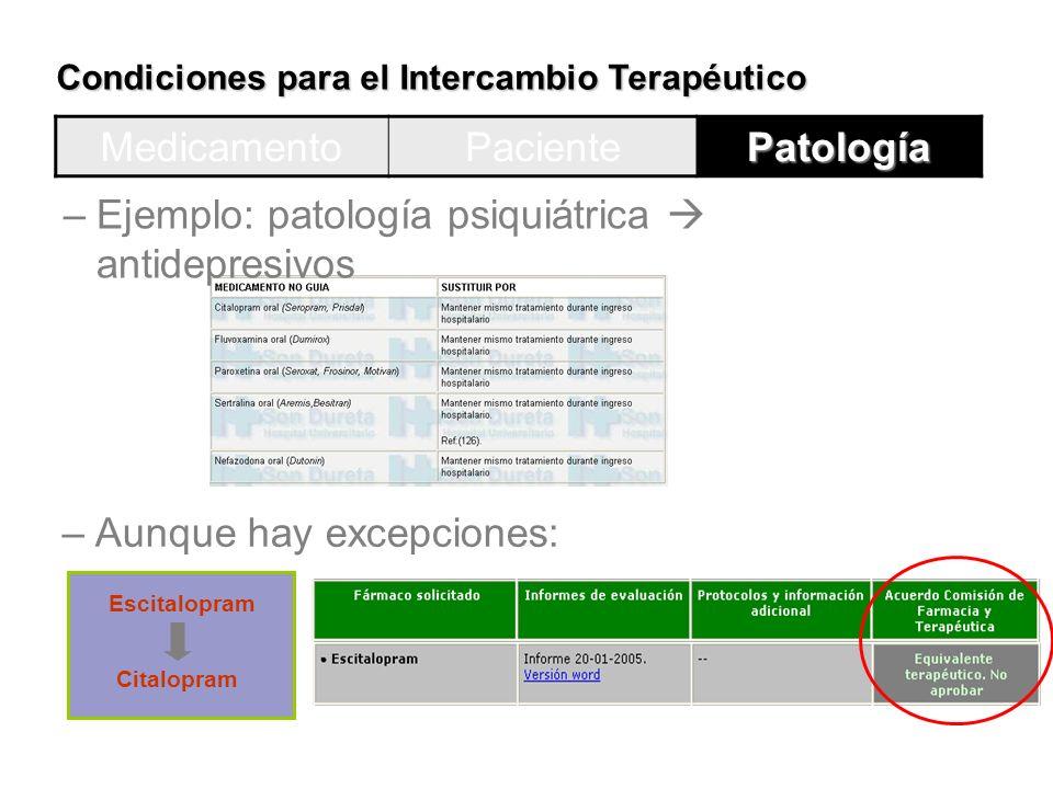 Ejemplo: patología psiquiátrica  antidepresivos